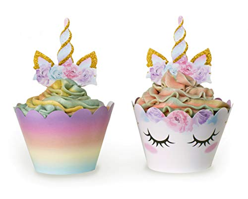 Unicorn Cupcake Decorations, Double Sided Toppers and Wrappers, Rainbow and Gold Glitter Decorations, Cute Girl's Birthday Party Supplies, 48 pcs - By Xeren Designs by Xeren
