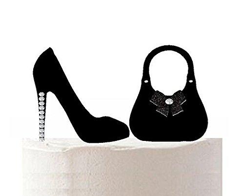 Ladies Stilettos Shoes & Hand Bag Flat - One-Sided Rhinestone Sparkle Toy Cake Cupcake Decoration Topper (Black)