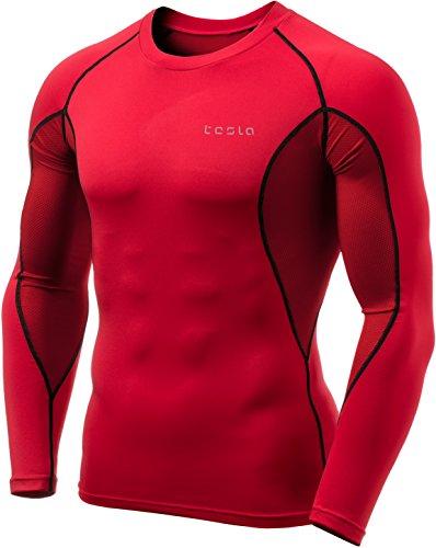 TM-MUD71-RDK_Large Tesla Men's Mesh-Side-Back Panel Long-Sleeved T-Shirt Compression Baselayer MUD71