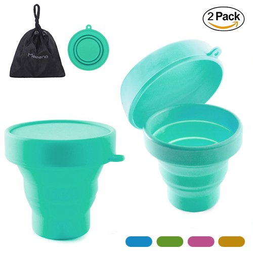 Cup Menstrual Diva (Collapsible Silicone Cup Foldable Sterilizing Cup for Menstrual Cup Moon Cup (Sky Blue-2 Pack))