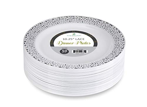 Elite Selection Pack Of 50 Dinner Disposable Plastic Party Plates White Color With Silver Lace Rim 10.25 Inch