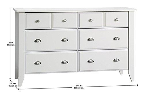 Bedroom Sauder Shoal Creek Dresser, Soft White finish dresser