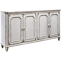 "Ashley Furniture Signature Design - Mirimyn 71"" 4-Door Accent Cabinet - Vintage - Antique White"