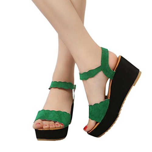 Hot Sale! ❤️ Women Sandals, Neartime Summer Fish Mouth Non-slip Platform High Heels Shoes Buckle Slope Sandals (US:6.5, Green)
