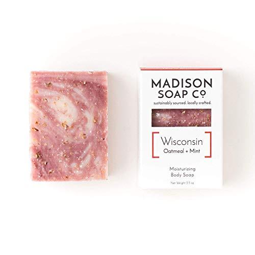 Wisconsin, Oatmeal + Mint Organic Vegan Certified Small-Batch Artisanal Moisturizing Handmade Bar Soap with Shea Butter and Avocado Oil