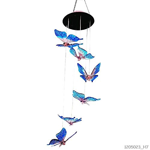 Ants-Store - Outdoor Solar LED Wind Chime Light Colorful Butterfly Color-changing Chandelier Home Garden Decoration Lamp (In The Time Of The Butterflies Analysis)