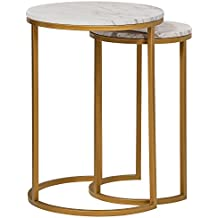 Rivet Circular Mid-Century Modern White Marble and Gold Nesting Side End Accent Table, Set of 2, Marble and Gold