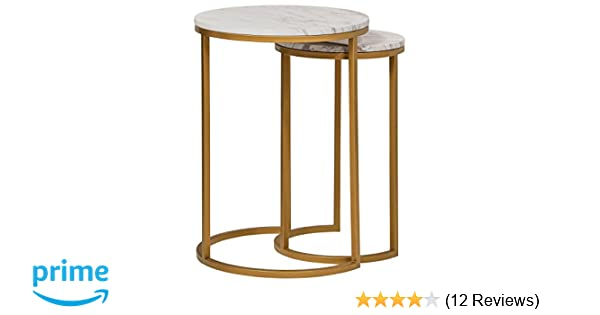fb14c2b416550b Amazon.com: Rivet Circular Mid-Century Modern White Marble and Gold Nesting  Side End Accent Table, Set of 2, Marble and Gold: Kitchen & Dining