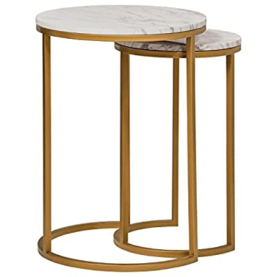 """Amazon Brand – Rivet Nesting Side Table, Set of 2, Circular Modern, Marble and Gold - Marble and brass-finished metal add modern glamour to these striking side tables. They're compactly designed to fit small spaces, yet give you a place for your phone and favorite beverage. When not in use, they stack together to save space. (L): 15.7""""W x 15.7""""D x 21.7""""H; Leg Height: 20""""H; (S): 11.8""""W x 11.8""""D x 19.7""""H; Leg Height: 18""""H Marble tops; metal bases with brass finish - living-room-furniture, living-room, end-tables - 41rj 7hSQOL. SS400  -"""