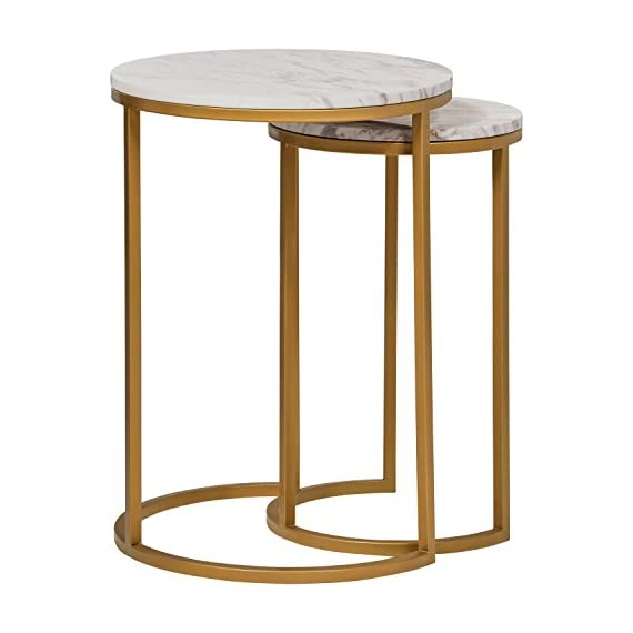 "Rivet Nesting Side Table, Set of 2, Circular Modern, Marble and Gold - Marble and brass-finished metal add modern glamour to these striking side tables. They're compactly designed to fit small spaces, yet give you a place for your phone and favorite beverage. When not in use, they stack together to save space. (L): 15.7""W x 15.7""D x 21.7""H; Leg Height: 20""H; (S): 11.8""W x 11.8""D x 19.7""H; Leg Height: 18""H Marble tops; metal bases with brass finish - living-room-furniture, living-room, end-tables - 41rj 7hSQOL. SS570  -"