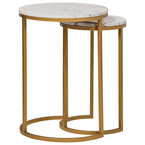 - Rivet Circular Mid-Century Modern White Marble and Gold Nesting Side End Accent Table, Set of 2, Marble and Gold