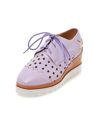 Cuña 5 cn40 Azul Casual us8 Oxfords eu39 5 us8 Tacones 5 Blanco purple white Morado Semicuero uk6 Redonda mujer white eu39 Tacón cn40 Punta de cn39 5 us8 uk6 ZQ Zapatos uk6 Beige eu39 Pq1IRwz