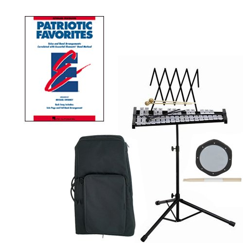 Band Directors Choice Educational Bell Kit Pack Patriotic Favorites Deluxe w/Carry Bag, Drum Practice Pad & Sticks & Patriotic Favorites Band Folios Book by Bell Kit Educational Packs