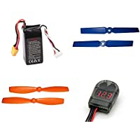 Walkera F210 Racer [QTY: 1] F210-Z-35 Racer Li-po battery 14.8V 1300mAh 40C (4S) XT-60 Power Pack Quadcopter Part [QTY: 1] Lipo Battery Alarm Low Voltage Tester Buzzer 2-8S Li-Po LiFe Li-ion Volts Bat