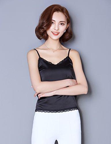 Alizeal - Camiseta sin mangas - Cuello redondo - Sin mangas - para mujer negro
