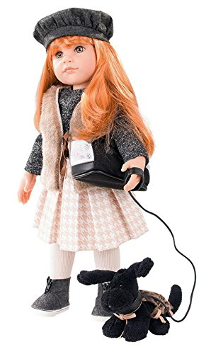 """Gotz Hannah Walking her Dog - 19.5"""" All Vinyl Poseable Doll with Long Red Hair to Wash & Style, Hazel Eyes, and Black Puppy"""
