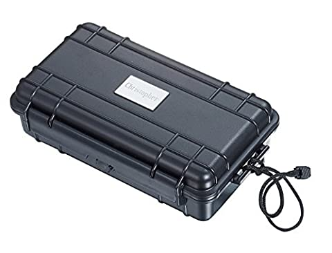 Personalized Black Travel Cigar Case with Free Engraving - Holds 5 Cigars - Personalized Cigar Case