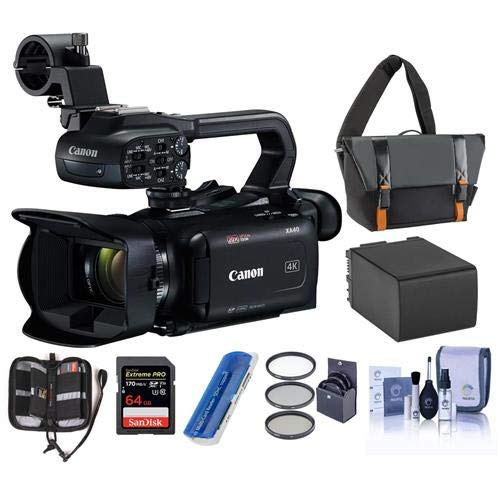 Canon XA40 4K UHD Pro Camcorder with 20x Optical Zoom Lens - Bundle with Video Bag, 64GB SDHC U3 Card, Spare Battery, 58mm Filter Kit, Cleaning Kit, Memory Wallet, Card Reader