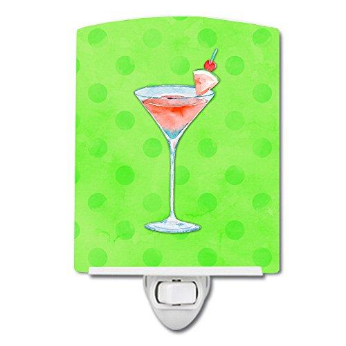Caroline's Treasures Summer Martini Green Polkadot Ceramic Night Light, 6 x 4