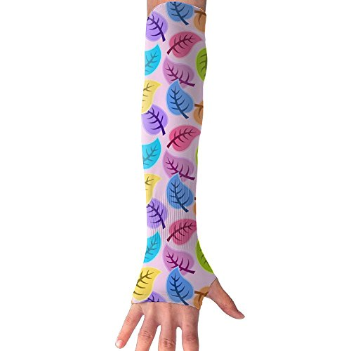 HBSUN FL Unisex Cute Colorful Leaf Anti-UV Cuff Sunscreen Glove Outdoor Sport Riding Bicycles Half Refers Arm Sleeves by HBSUN FL