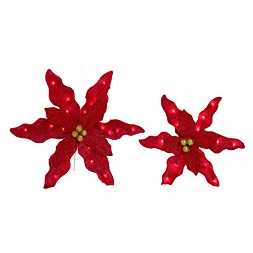 Outdoor Lighted Poinsettias in US - 5