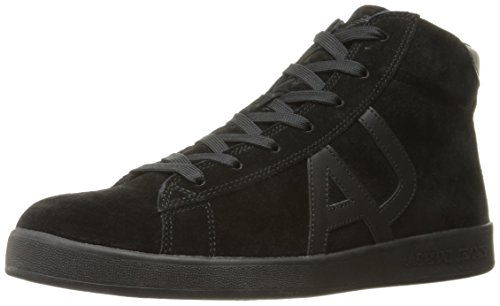 ARMANI JEANS Mens High Top Lace up Suede Logo Fashion Sneaker Nero