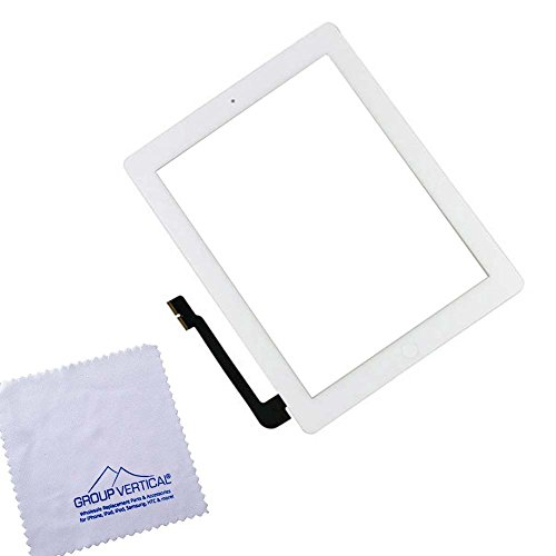 Group Vertical¨ White Touch Screen Display Digitizer Complete Assembly + Home Button Menu for Apple iPad 3 3rd