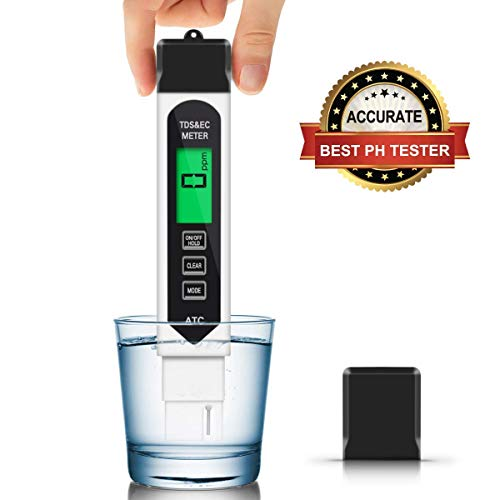TDS Meter Digital Water Tester, 0.01 PH High Accuracy Water Quality Tester, 0-9999 ppm Meter, Ideal ppm Meter for Drinking Water, Pool and Aquarium Water PH Tester Design and More