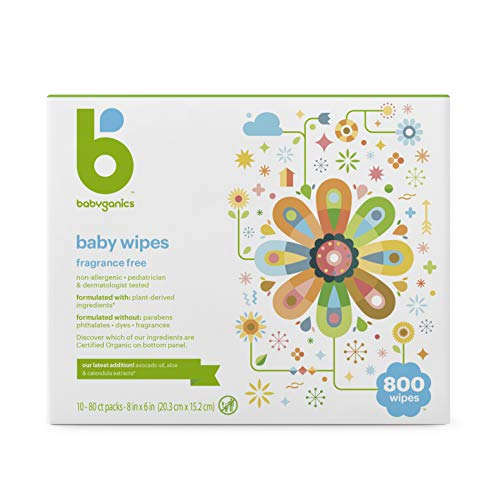 Babyganics Baby Wipes, Unscented, 80 Ct, 10 Pack, Packaging May Vary