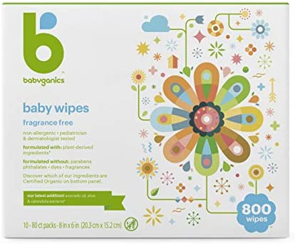 Babyganics Baby Wipes, Unscented, 800 Count (10 Packs of 80 Wipes), Packaging May Vary