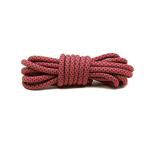 VASGO Sport Round Shoe Laces Reflective, for Sport/Casual/Trainer Sneaker [5 Different Lengths Thick 12 Colors] (63inch / 160cm, Red)