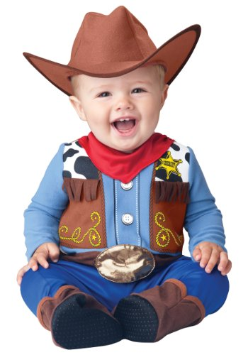 InCharacter Baby Boy's Wee Wrangler Cowboy Costume, Tan/Blue,