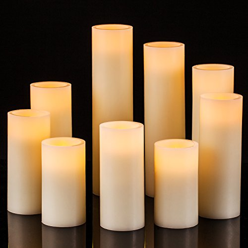 Onlyhome Flameless Candles, Battery Operated Real Wax Pillar LED Candle, Ivory Color, Set of 9 (D 2.2
