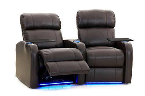 Diesel XS950 Theater Seats - Brown Top-Grain Leather - Motorized Recline - Memory Foam - Space Saving Design - Curved Row of 2 Chairs