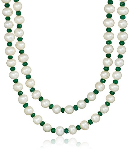 7-7.5mm White Cultured Freshwater Pearls with 4-5mm Green Emerald Gemstone Endless Strand Necklace, 50""