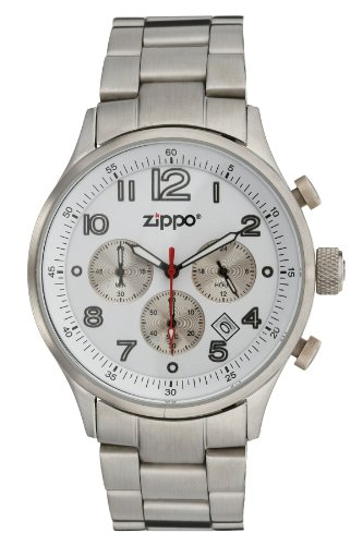 Zippo Sports Watch with Chronograph/White Dial and Solid Stainless Steel Band, ()