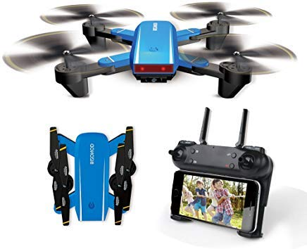 Mini Drone with Camera Live Video BIZONOD SG700 WIFI FPV Rc Quadcopter with Dual 720p HD Cameras Auto-photograph Folding Drone Remote Control Rc Helicopter Toy for beginners Kids(Blue)