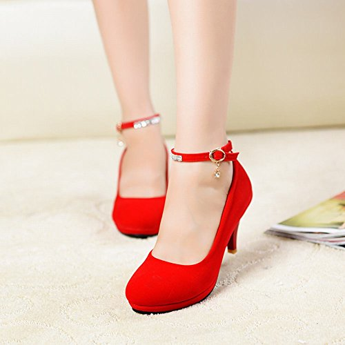 Carolbar Women's Lovely Elegant Rhinestones High Heel Buckle Court Shoes Red pdAl2hb