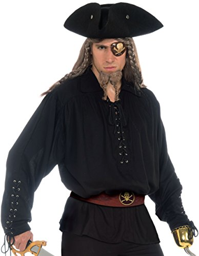 Medieval Shirt Adult Costumes (Forum Novelties Men's Buccaneer Costume Shirt with Grommets, Black, Standard)