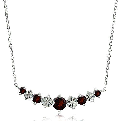 Garnet Journey Pendant - Sterling Silver Garnet Round Graduated Journey Necklace