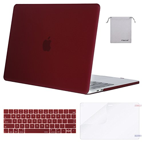 MOSISO MacBook Pro 13 Case 2018 2017 2016 Release A1989/A1706/A1708, Plastic Hard Shell & Keyboard Cover & Screen Protector & Storage Bag Compatible Newest Mac Pro 13 Inch, Marsala Red