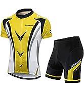 FEIXIANG Mens Cycling Jersey Set, Bike Short Sleeve Kit Bicycle Shirts+4D Padded Shorts Biking Ro...