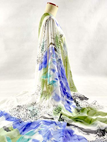 (Dalab Telas 100% Pure Natural Mulberry Silk Chiffon Digital Printed Blue/White Fabric Material Textile Sew Women Dress Scarf 8MM Tissu)