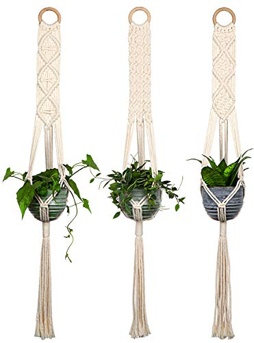 - Closetique Macrame Plant Hangers - House Plants Hanging Holder - Hanging Planters for Indoor Outdoor Plants - Basket Pots Hangers 100% Cotton Cord 40 Inch in Length, Wall Art Boho Home Decor, 3Pcs