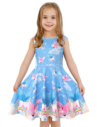 LaBeca Little Girls Party Casual Printed Twirly Sleeveless Dress Dreamy Unicorn S]()