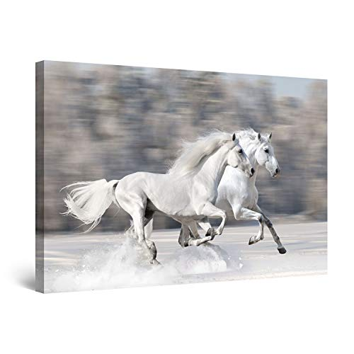 STARTONIGHT Canvas Wall Art - Horses Running Fast, Horses Framed 32 x 48 Inches (Paintings Of Horses Running On The Beach)