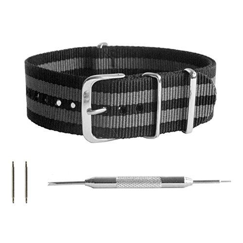 m Black and Gray Striped Ballistic Nylon NATO Watchband + Spring Bar Removal Tool ()