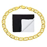 The Bling Factory 6mm 14k Gold Plated Mariner Bracelet, 7'' + Microfiber Jewelry Polishing Cloth