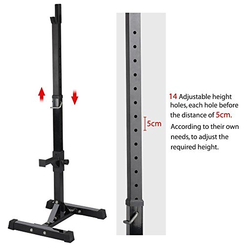 Yaheetech Pair of Adjustable Squat Rack Standard Solid Steel Squat Stands Barbell Free Press Bench Home Gym Portable Dumbbell Racks Stands 44''-70'' by Yaheetech (Image #2)