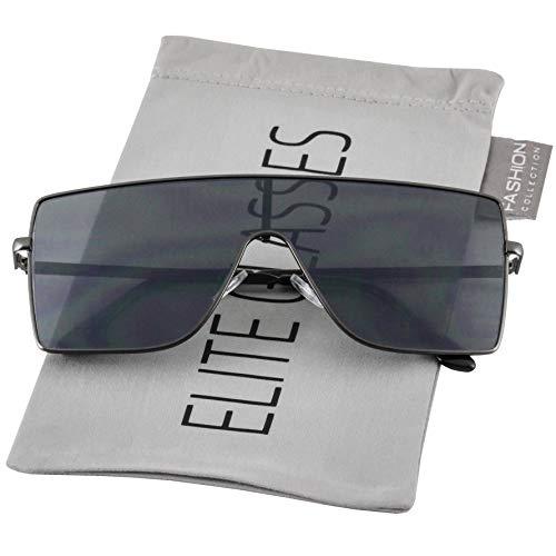 Oversized Flat Top Square VINTAGE RETRO SHIELD VISOR Style Aviator SUNGLASSES (Style 2-Black) by EliteGlasses